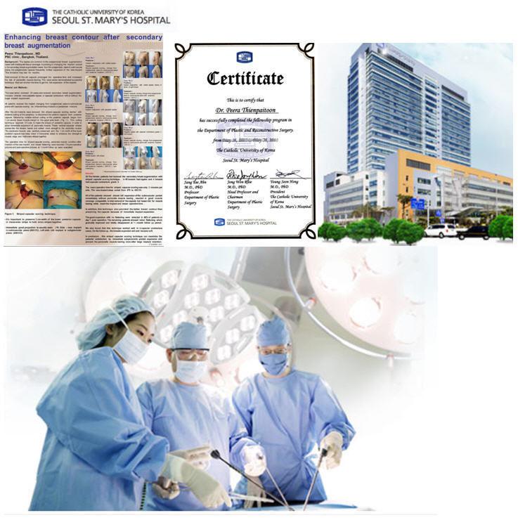 certificate - ผลงานเทคนิคการผ่าตัดด้านศัลยกรรมหน้าอกของ นพ.พีระ นำเสนอที่งานศัลยแพทย์ตกแต่งเต้านมที่ประเทศเกาหลี